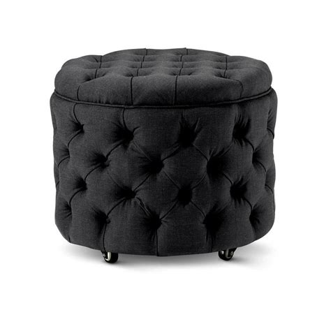 small black ottoman emma storage ottoman small black black mango