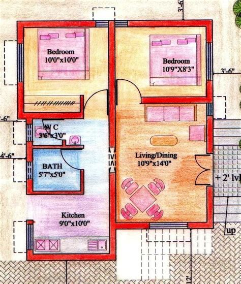 plan of 2bhk house floor plan for 2bhk house gharexpert