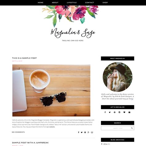 design bloggers at home review feminine blogger template quot magnolia quot pish and posh designs