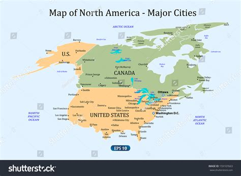 usa canada major cities map map of canada and usa with major cities map of canada and