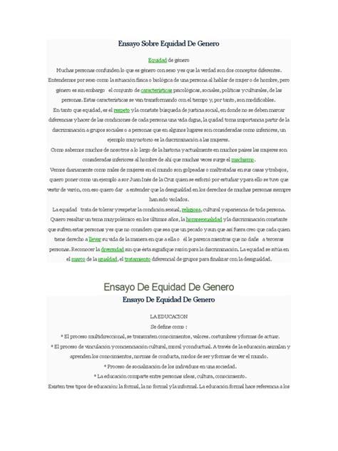 titulo educa con igualdad ensayo sobre equidad de genero