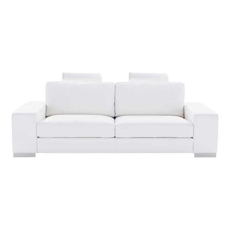 sofas de cuero blanco sof 225 de 3 plazas de cuero blanco daytona maisons du monde