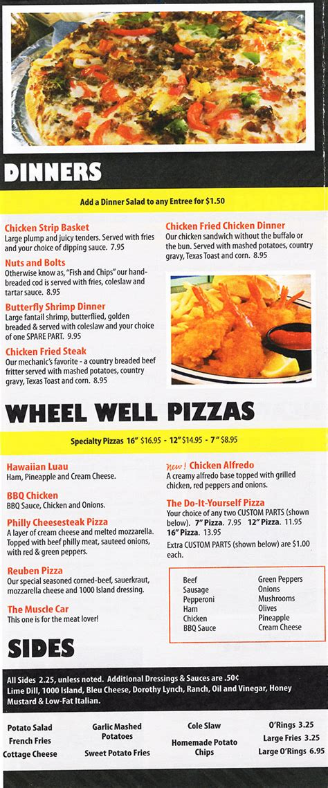 the garage menu the garage sports bar grill delivery menu with prices