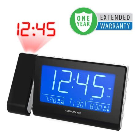 magnasonic alarm clock radio with usb charging for smartphones tablets time projection auto