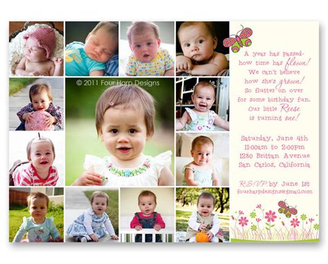 baby s year collage templates butterfly garden birthday invitation a by