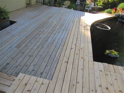 pond deck staining