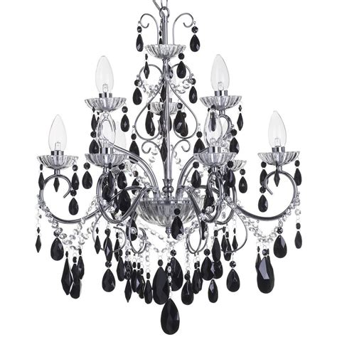 Black Bathroom Chandelier Vara 9 Light Chrome Bathroom Chandelier W Black Crystals