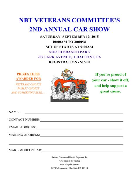Templates For Car Window Cards For Car Shows by Car Show Registration Form 2 Free Templates In Pdf Word