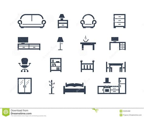 Furniture icons stock vector. Illustration of logo, hanger