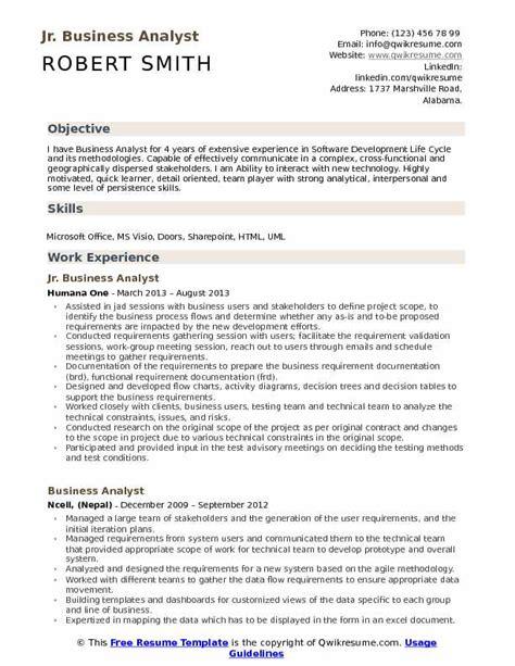 junior business analyst cv exle jr business analyst resume sles qwikresume