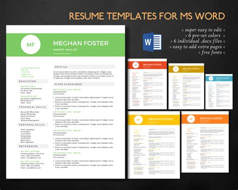 creative resume templates docx free clean 2 in 1 docx resume resume templates on creative market