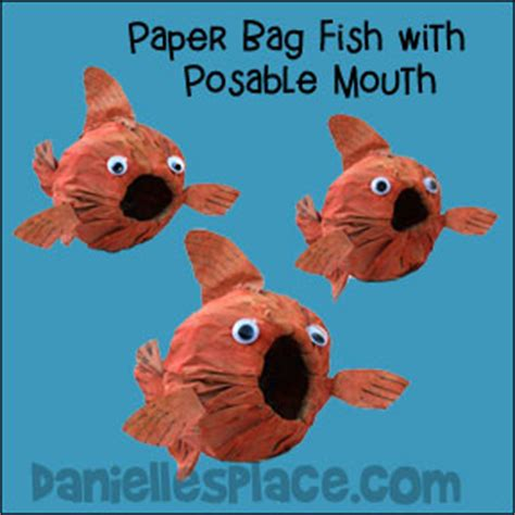 Crafts Using Paper Bags - paper bag fish with posable craft from www