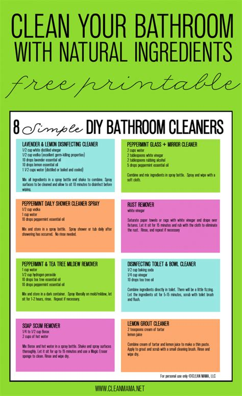 chemical free bathroom cleaner 8 simple diy bathroom cleaners free printable shower