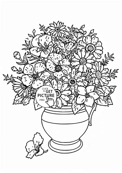realistic bouquet of flowers in vase coloring page for