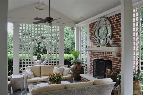 lattice work porch traditional with porch brown trellises
