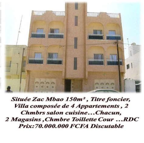 Mba O by Villa 224 Vendre Zac Mbao 224 R 2 Bureau Immobilier Conseils