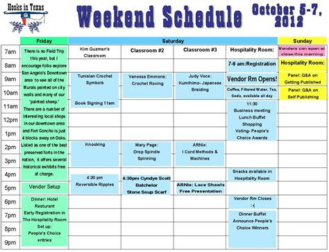 rotating weekend schedule template weekend schedule template calendar template 2016