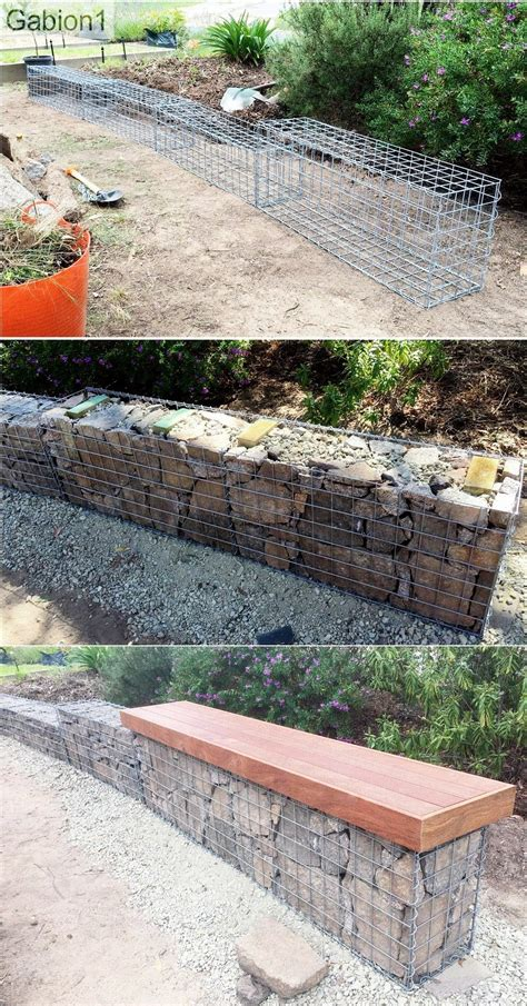 small garden gabion wall with seat showing stacked