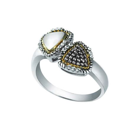 swarovski triangle ring in 14k gold and sterling silver