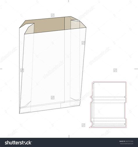 Paper Bag With Die Cut Template Stock Vector Illustration 303757202 Shutterstock Templates Paper Bag Die Cut Template