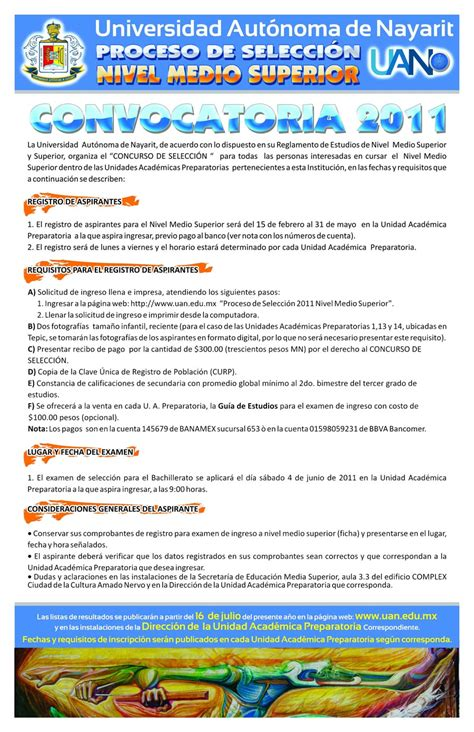 convocatoria para servicio de convocatoria para el proceso de nuevo ingreso 2011