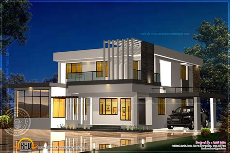 elevation and floor plan of contemporary home indian