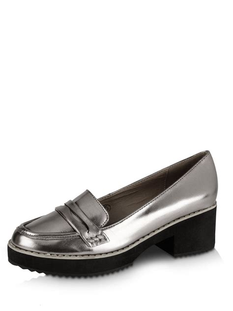 chunky heel loafer buy dolcis chunky heel loafers for s pewter