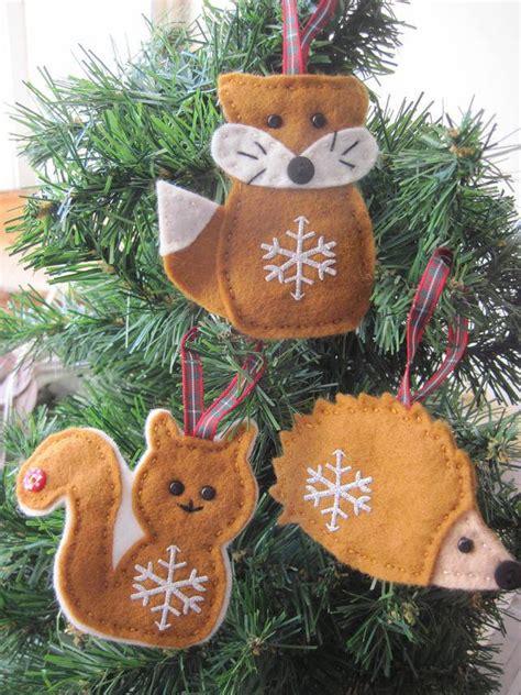 woodland christmas felt decoration fox squirrel  hedgehog felt christmas decorations felt