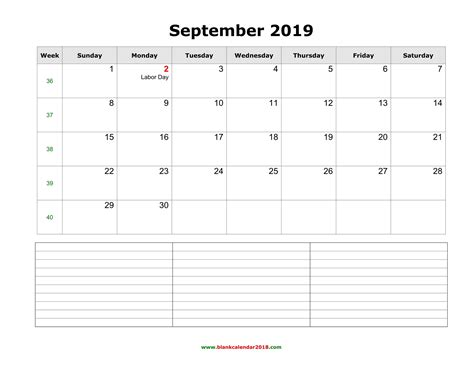 blank calendar september   notes landscape