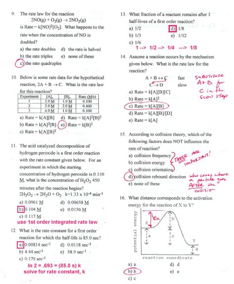 tutorial questions on chemical kinetics chapter 14 chemistry