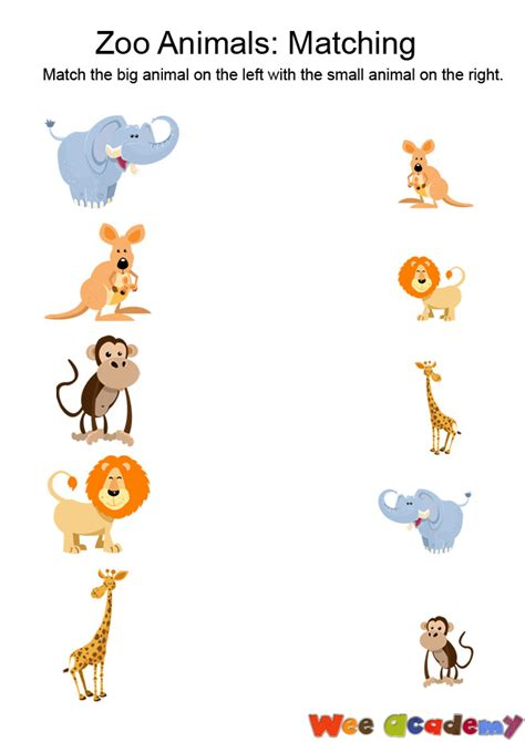 printable zoo animal matching game activities wee academy