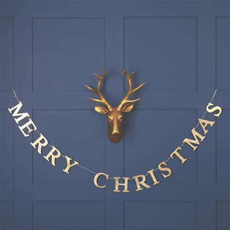 gold merry christmas garland   christmas home notonthehighstreetcom