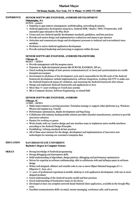 Senior Software Engineer Resume by Senior Software Engineer Android Resume Sles Velvet