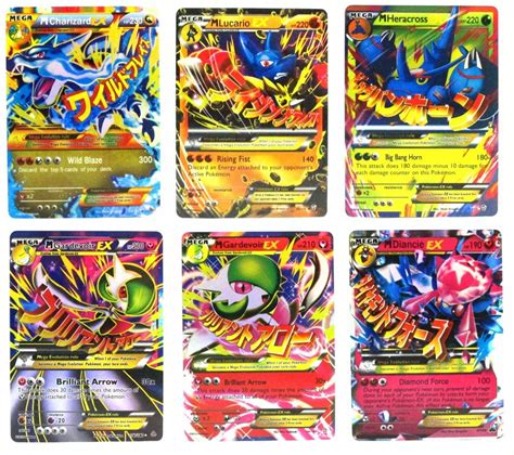 x cards pok 233 mon trading card mega ex set of 6 cards charizard