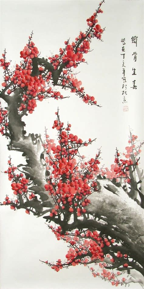 cherry blossom grasses moon and plum blossom painting bamboo and plum blossom july 2010