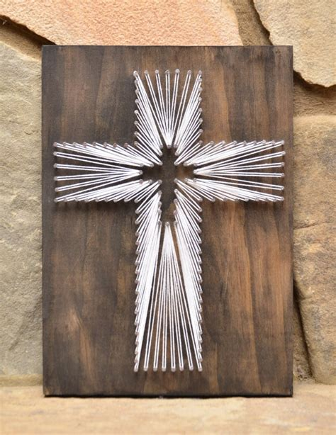 Wood And String - custom wood cross religious string home decor by