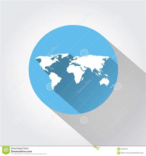 flat world map vector world map flat design shadow stock vector image