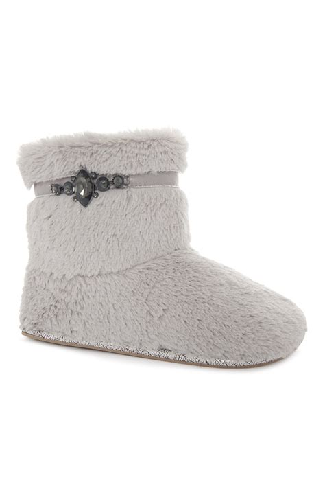 primark slippers the most comfortable grey detail fluffy boot slipper