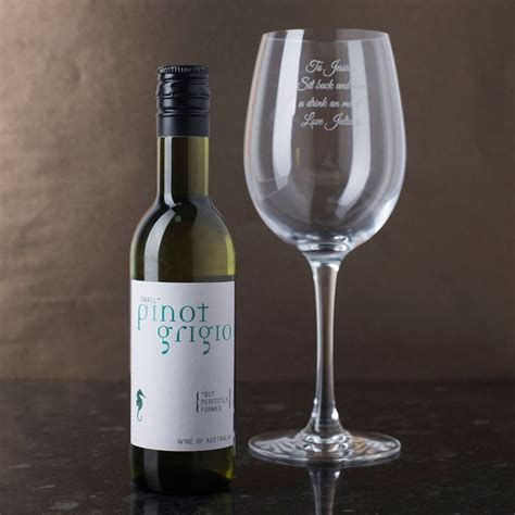personalised white wine and glass gift set