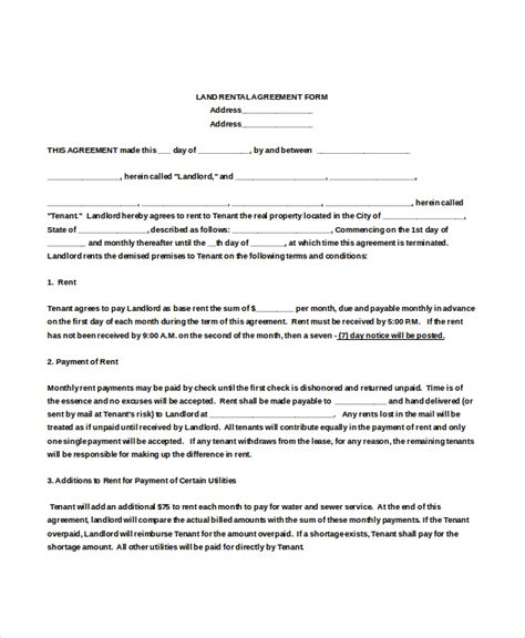 agreement document template rental agreement form 12 free word pdf documents