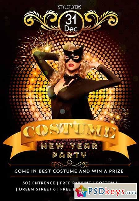 costume in new year costume new year psd flyer template cover