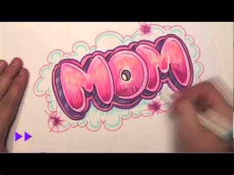 draw graffiti letters write mom  bubble letters