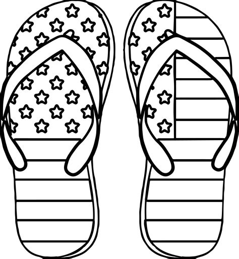 Coloring Page 4th Of July by 4th July Slipper Coloring Page Wecoloringpage