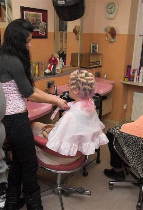 forced feminine haircuts in the beauty salon in curlers friseur hairdresser peluqueria kapsalon