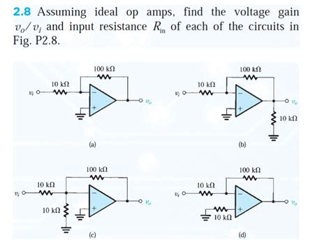 what is a gain resistor assuming ideal op s find the voltage gain v0 chegg