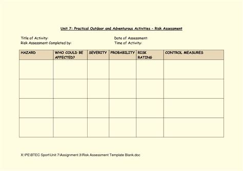 risk assessment template blank risk assessment template forms template update234