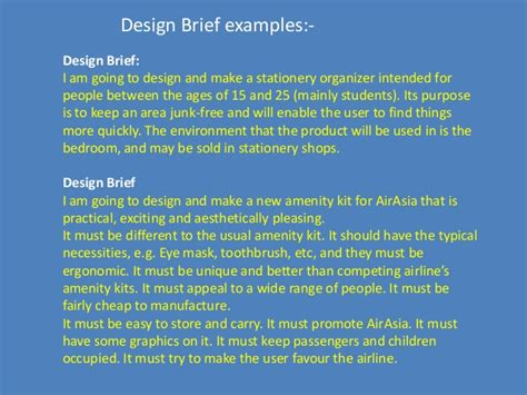 design brief exle for students design brief for engineering design process