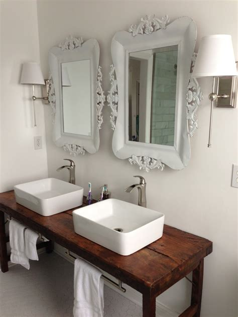 Vessel Sink Bathroom Ideas White Bathroom With Vessel Sinks And Wood Table As Vanity Like The Table Vanity Our House In