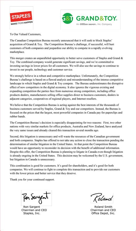Firm Merger Letter To Clients Staples And Office Depot Issue Open Letter To Customers Regarding Canadian Competition Bureau S