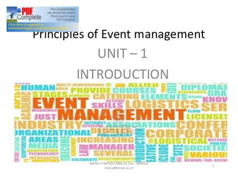 Mcom Mba Linkedin by Chap 1 Introduction To Event Management